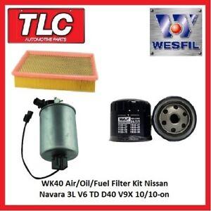 WK40 Air Oil Fuel Filter Kit Nissan Navara D40 3.0L V6 TD V9X 10/10-on