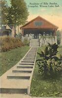 Winona Lake Indiana~Residence of Billy Sunday Evangelist~1910 Postcard