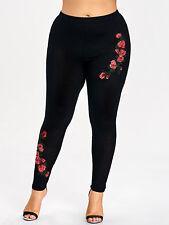 Plus Size Women Embroidery Floral Leggings Skinny Elastic Waist Pants Trousers