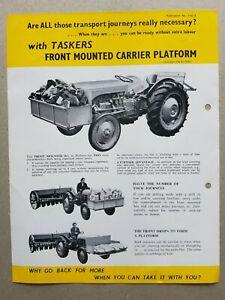 Tasker Front Mounted Carrier Platform Leaflet/Brochure 1952? 2 pg Quite rare??