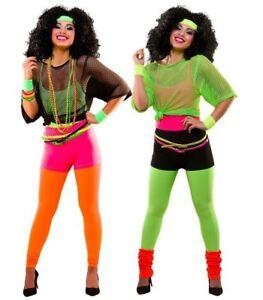 Ladies 80s 1980s NEON FANCY DRESS Dance Hen Party Costume Ra Ra's Hot Pants Legs