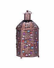 Vintage Crystal Metal Hollow Candle Holder Colorful Moroccan Hanging Lantern Wed
