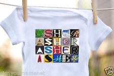Asher Baby Bodysuit in Sign Letter Photos - 100% Cotton & Short Sleeve