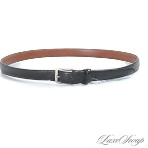 Polo Ralph Lauren Made in Italy Black Crackled Leather Skinny Silver Bkl Belt 40