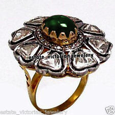 Retro Estate 1.11Ct Rose Antique Cut Diamond Emerald Studded Silver Jewelry Ring