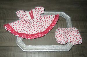 """Handmade Doll Clothes for 12"""" - 14"""" Baby Dolls - """"Love You!"""" Hearts Dress Set"""