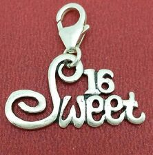 Sterling Silver Sweet 16 Clip on Charm Solid 925 clipon number birthday 16th