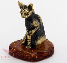 Solid Brass Amber Figurine of Royal Egyptian Sphynx Cat Kitty Kitten IronWork