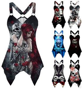 Women Gothic Skull Print Vest Tank Top Ladies Sleeveless Blouse T-Shirt E5201
