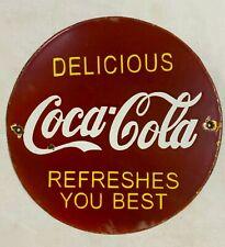 "Vintage Porcelain Coca-Cola 12"" Enamel Sign."