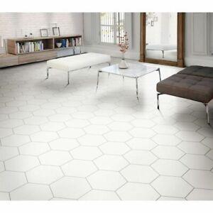 CUT TILE SAMPLES: Istanbul White Hexagon Porcelain Wall Floor Tiles