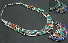 N94 Handmade Tibetan Silver Turquoise Lapis Coral resin Fashion Necklace Nepal