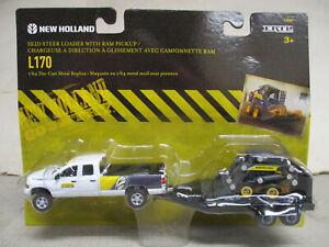 Ertl New Holland L170 Toy Skid Loader with Truck & Trailer Set 1/64 Scale, NIB