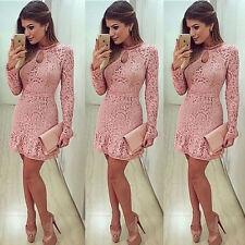 New Women's Lady Summer Lace Long Sleeve Party Evening Cocktail Short Mini Dress