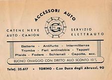 VOLANTINO PUBBLICITARIO ACCESSORI AUTO EG TORINO CORSO DUCA DEGLI ABRUZZI 13-215