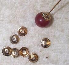 VINTAGE GOLD ON BRASS RIBBED BEAD CAP FINDINGS WOW!  36 PCS  SHINY