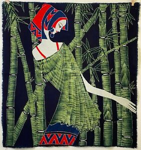 "Bamboo Wrapped ~ Brand New MEDIUM (30"" x 32"") Batik Wall Hanging"