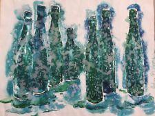 Original Watercolor Painting Bottles Blue Green Aqua Turquoise Still Life Signed