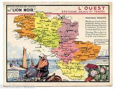Chromo.Image publicitaire produits du LION NOIR. L'OUEST Bretagne. Anjou. Vendée