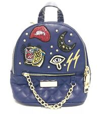 BEBE Blue Faux Leather Mini Backpack Studs Retro Patches Tiger Chainlink NWT