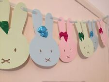 Bunny Bunting - Baby Blue Pink Green Party Baby Shower Decor Ribbon Tie 4m