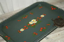 Toleware Tray Strawberry Yellow Daisies Hand Painted Floral Country Green Farm