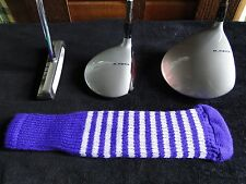 New knitted zebra style Fairway & Driver club head cover Purple / Optic White