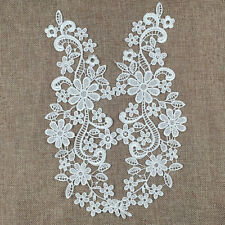 White Floral Lace Applique Embroidered Guipure Wedding Lace Motif Patches