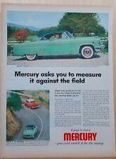 1954 magazine ad for Mercury - color photos of green 2-door Mercury, Compare