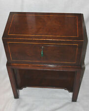 Victorian to Edwardian Tea Poy, or Large English Work Box, Side Table, With Key