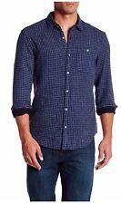 NWT Original Penguin Long Sleeve Space Dye Check Slim Fit Shirt, Blue, Size M
