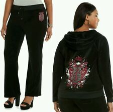 JUICY COUTURE XXL Embellished Velour BLACK Tracksuit (Womens PLUS Size 2X) NWT
