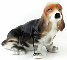 Basset Hound Porcelain Figurine Hand Painted Dog Statue Ceramic Animal Sculpture