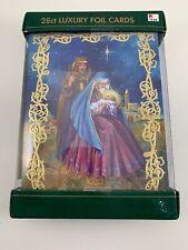 Christmas Cards 28 ct w Envelopes Luxury Foil & Glitter Jesus Bethlehem Nativity