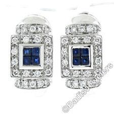 14k White Gold 1.20ct Princess Sapphire & Diamond Milgrain Huggie Omega Earrings
