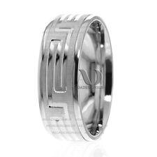 Solid 10K White Gold 8.5mm Wide Maze Patterned Men's Wedding Band Ring