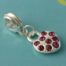 1pcs Silver Plated Charm Heart Pendant Red clear crystal Stone Fit DIY all