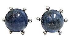 925 Sterling Silver Lapis Lazuli Sphere Ball Stud Earrings Flower Prong Setting