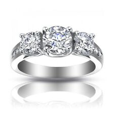 2.25 ct Ladies Three Stone Round Cut Diamond Engagement Ring In Platinum