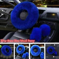 3Pcs Mature Gem Blue Wool Furry Fur Car Steering Wheel Cover Fluffy Thick Winter
