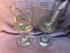 LOT OF 2 ARBY'S CHRISTMAS GLASSES HOLLY BERRY WINE STEMMED GOBLET GOLD RIM 1985