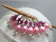 Pink Pearl Small Needle Beaded Stitch Markers (SNAG FREE)- For Sock Knitters