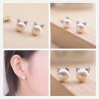 HOT Fashion Women's Elegant Cute Pearl Cat Kitten Head Stud Earrings Kawaii POP
