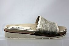 Earthies by Earth Crete Off White Shimmer Slide Sandals Womens Size 8.5