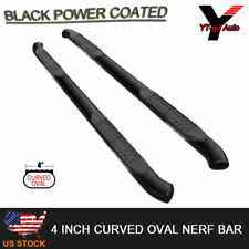 Fits 2007-2018 Chevy Silverado Crew Cab 4'' Black Oval Curved Nerf Bar Side Step