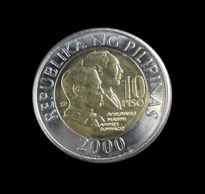 PHILIPPINES 10 PISO 2000 BI-METALLIC COMMEMORATIVE UNC KM 278 #6240#