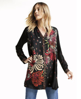 💕NWT Floral JOHNNY WAS Silk CARRO Button Down SCARF PRINT Blouse Dress XS $235