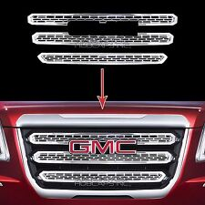 New 2016 2017 GMC TERRAIN CHROME Grille Overlay 3 Bar Front Grill Covers Inserts