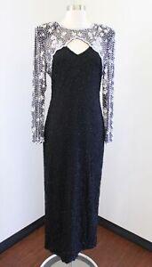 Vtg Laurence Kazar Black Silk Beaded Sequin Keyhole Evening Formal Dress Size M