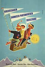 Vintage Bayerische Alpen Österreich Skifahren Reisen a4 POSTER PRINT